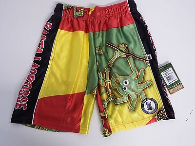 Youth XX Small Rasta Skeleton Dazzle  Athletic Mesh Shorts Red Flow Society