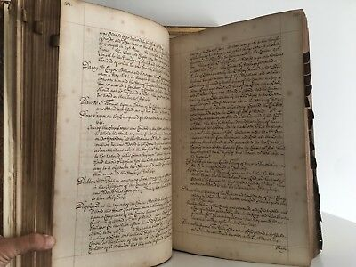 MASSIVE 17th CEN  ENGLISH MANUSCRIPT- FROM KING HENRY VIII to 1642.  Vellum Tabs