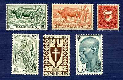 CAMEROON-#282,304,305,318,319,J24-Group of 6-MINT & USED