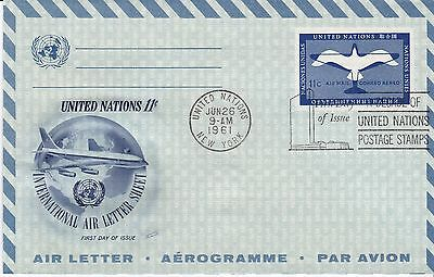 First day air letter, United Nations, Scott  #UC5, Fleetwood cachet, 1961