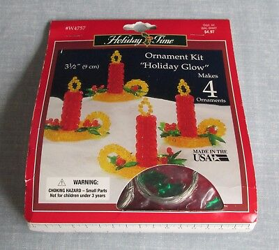 The Beadery Holiday Glow Christmas Candle Bead Ornament Kit 4757 Makes 4 New