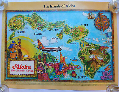 Aloha Airlines Islands of Aloha Travel Poster (1980s) [18x24]