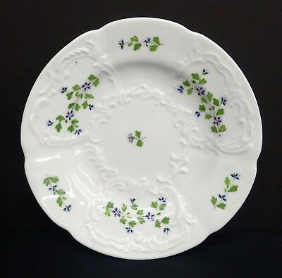 19th C Scroll Molded Soft Paste Porcelain Serving Plate, Cornflowers c1840