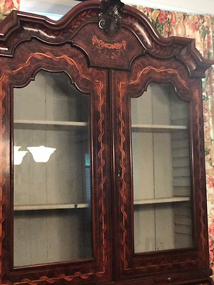 OUTSTANDING ANTIQUE GERMAN SECRETARY BOOKCASE IN-LAY UNREAL GC FRUITWOOD c 1750