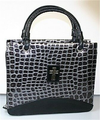 Purse Croc Embossed Large Black Bible Cover