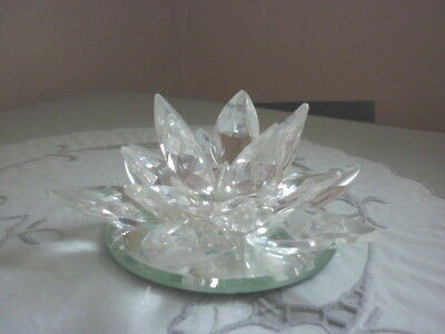 Crystal Glass Water Lily Candle Holder
