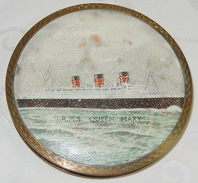 VINTAGE RMS QUEEN MARY SHIP LADIES VANITY MIRROR POWDER COMPACT By STRATTON