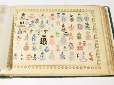 Antique Victorian 1872 Embossed Crests Monograms Coats of Arms 51 FULL Pages #17
