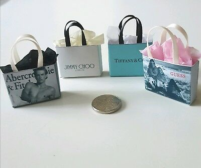 FREE P&P Miniature Dolls House Designer  Shopping Bags 1.12 Scale