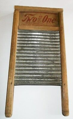 Vintage Wood & Tin Metal Two in One Jr Carolina Washboard NC Primitive Laundry