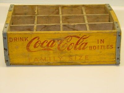 Vintage Yellow Coca Cola Wooden Case, Family Size, With Dividers