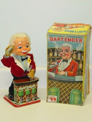 Vintage Japan Tin, TN Bartender In Box, Battery Operated