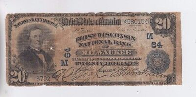 National Currency $20 1902PB Milwaukee Wisconsin low grade