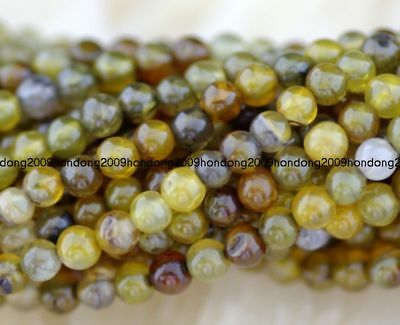 Natural  4mm yellow Dragon Veins Agate Gems Round   Beads 15''