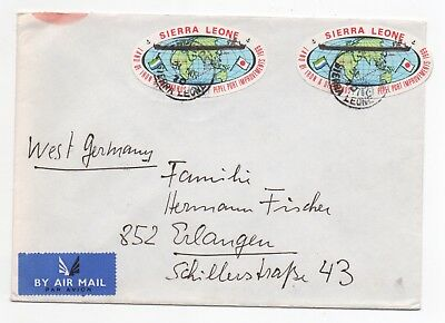 1970 SIERRA LEONE Air Mail Cover FREETOWN To ERLANGEN GERMANY Maps