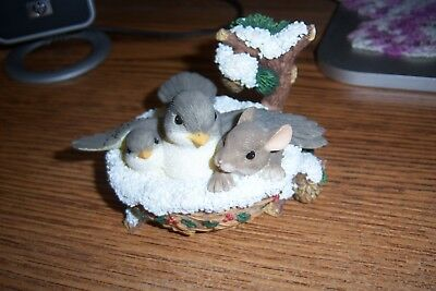FITZ AND FLOYD CHARMING TAILS-Nestled In For The Holidays-Mouse Birds Nest