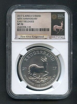 2017 South Africa Silver Krugerrand EARLY RELEASE-BLK NGC SP70 50th Anniversary