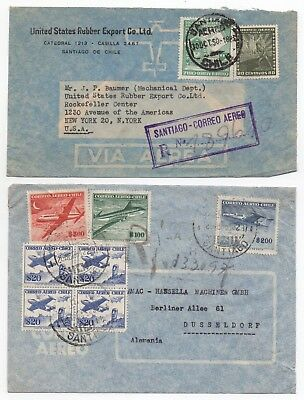 1950/51 CHILE 2 x Air Mail Covers SANTIAGO to NEW YORK USA & DUSSELDORF GERMANY