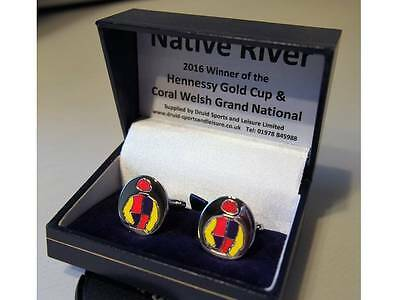 Native River cufflinks - in his racing colours