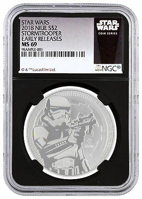 2018 Star Wars Classic Stormtrooper 1 oz Silver NGC MS69 ER Black Core SKU50192