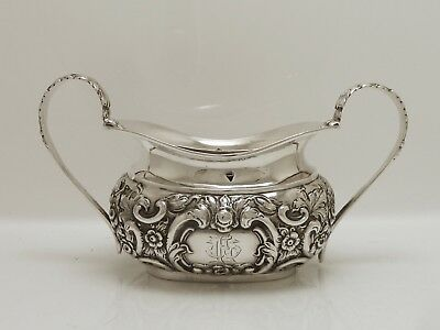 A Beautifully Embossed Clean Victorian 1900 Solid Silver Sugar Bowl Chester