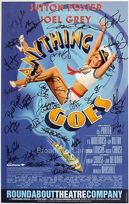 ANYTHING GOES Cast Colin Donnell, Joel Grey, Sutton Foster Signed Poster