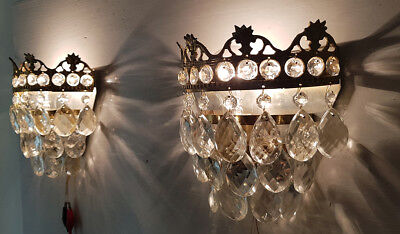 A Pair of Antique Brass & Crystals Wall Sconces from 1950's