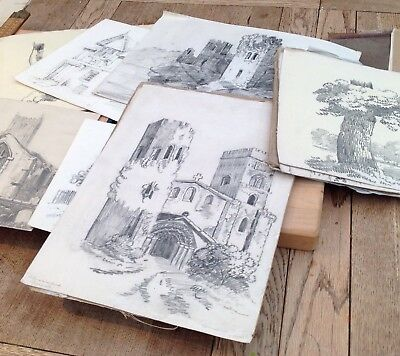 An Interesting Lot Of Approx 60 Antique Sketches & Studies C. 1820s, Buildings