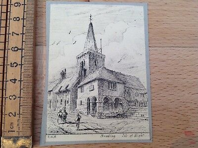 Lovely Small Antique Ink Drawing Of Brading, Isle Of Wight, Initialled RWB