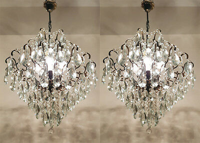 A Pair of Antique Spider Style Cast Brass & Crystals LARGE Chandeliers from 1950