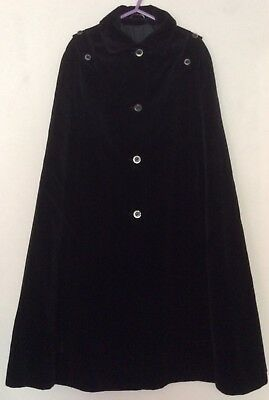 vgc vintage 70s Mark Russell black velvet long cape 12 14 coat Goth Halloween