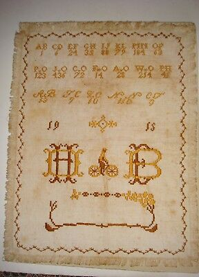 Interesting Sampler Dated 1915 With Bicycle