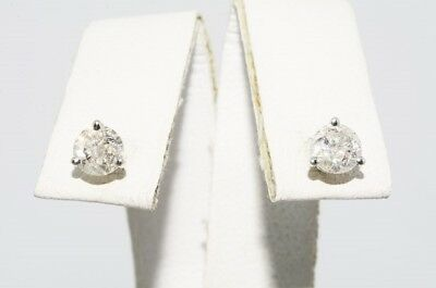 $1,250 .64Ct Natural Round Cut White Diamond Martini Stud Earrings 14K