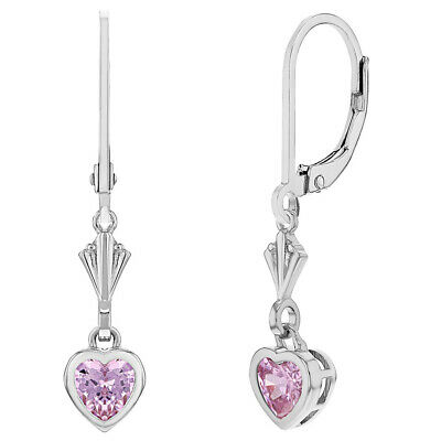 925 Sterling Silver Pink Heart Leverback Dangle Children's Earrings