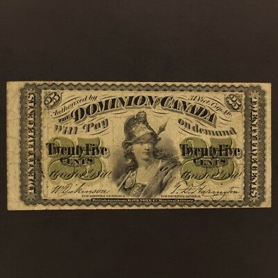 Canada 25 Cents 1.3.1870 DC-1c Banknote VF