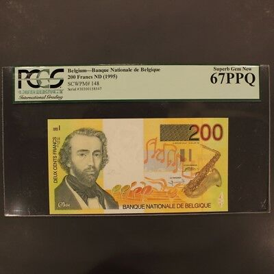 Belgium 200 Francs ND(1995) P#148 Banknote PCGS 67PPQ - Superb Gem New