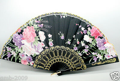 Black Spanish Style Dance Party Wedding Lace Silk Folding Hand Held Flower Fans