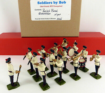 BOB YEKNIK 54mm WHITE METAL PUNJAB BAND AT ATTENTION 14 PIECE BOXED SET