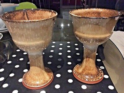 2 x Large HUMFREY WAKEFIELD Isles of ScIlly POTTERY WINE GOBLETS  * VGC