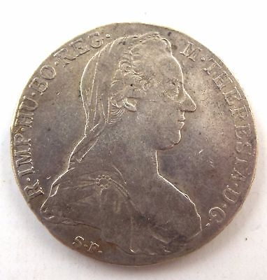 Antique SILVER Austrian Thaler Coin MARIA THERESIA Design Dated 1780 - C61