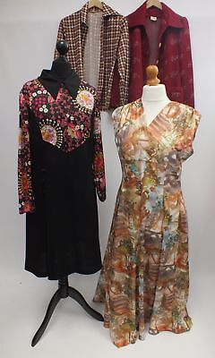 Job Lot  4 X Vintage DRESSES & JACKETS Retro 70's Size UK18 - B10