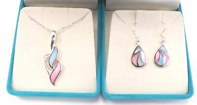 925 Sterling Silver ROBINSON & STIRLING Enamelled Necklace & Earrings Set - N34
