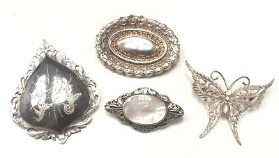 4x 925 STERLING SILVER Brooches - Various Designs - L25