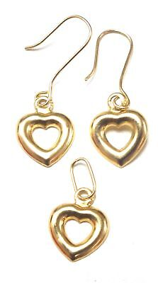 750 18ct YELLOW GOLD Heart Earrings & Pendant Set, 0.36g - W74
