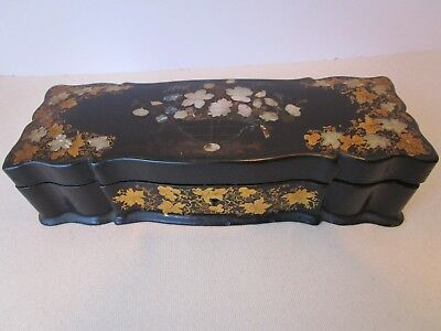 Antique Papier Mache Mother Of Pearl inlay Box