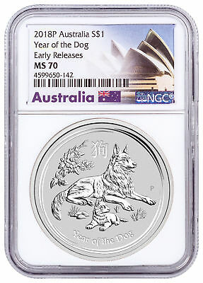 2018-P Australia Year of the Dog 1 oz Silver Lunar (S2) $1 NGC MS70 ER SKU49615