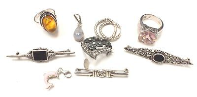 925 STERLING SILVER Jewellery Job Lot - Rings, Brooches Etc. - M04