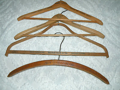 Lot VINTAGE Wooden Clothing Hangers ADVERTISING Hotels, Stores, LOT of 7 Pieces