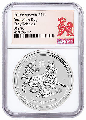 2018-P Australia Year of the Dog 1 oz Silver Lunar (S2) $1 NGC MS70 ER SKU49616