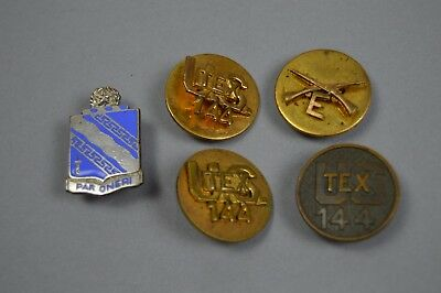 Pre WW2 Texas 36th Infantry Division 144th Infantry Regiment DUI + collar disks